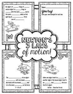 newtons laws of motion science doodle notes interactive notebook anchor chart subjects Physical Science, Science Education, Science Activities, Teaching Science, Waldorf Education, Science Experiments, Physical Education, Newtons Laws, Ideas