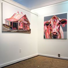 Pink Cow & Barn Painting by Kate Mullin Williford   www.katemullinart.com  #pink #pinkcow #barn #cow #Painting #artistoninstagram #pinklovers #fashion #styleblogger #artistlife #katemullin