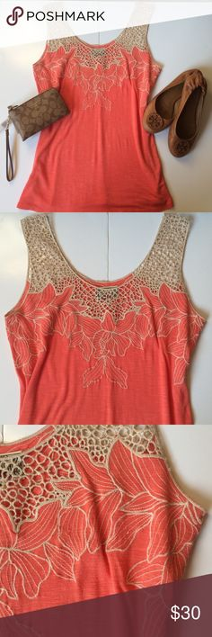Anthropologie crochet detail peach top Detailed top from Anthropologie, Baraschi brand.  Peach body with floral embroidery and crochet shoulders. Anthropologie Tops