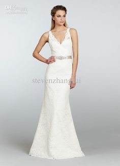 Wholesale 2013 Spring New Style Sexy V-Neck Lace Off Shoulder Wedding Dresses Sheath Floor Length Bridal Gowns, Free shipping, $128.8-145.99/Piece   DHgate