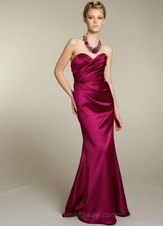 Magenta Satin Strapless Draped Sweetheart Neck A-line Long Bridesmaid Dress