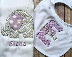 Monogrammed baby gift baby girl gift monogrammed baby girl baby monogrammed baby girl purple grey elephant burp cloth set personalized girl gift set personalized baby gift custom embroidered burp baby negle Image collections