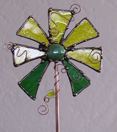 Stained Glass and copper Plant Stake Garden ART Yellow Flower. $34.00, via Etsy.