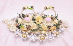 Fancy floral designing platters Engagement Ring Platter, Engagement Rings, Indian Wedding Gifts, Wooden Platters, Ring Holder Wedding, Wedding Designs, Floral Design, Floral Wreath, Fancy