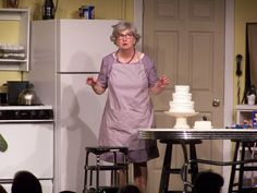 Janet Brucken performing as Vivian, the best cook in the kitchen, in Church Basement Ladies.