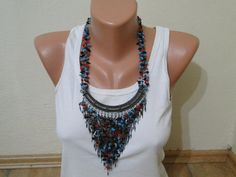 colorful natural stonebib necklace by aydam on Etsy, $15.00