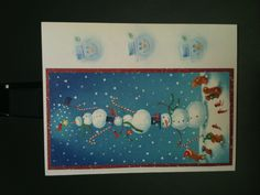 Snowman card - I create new designs of my own but i also recycle old cards and up cycle recycled cards :) I stamp, watercolor, draw, collage, tear, embellish - basically whatever works for that particular application ( in addition to my other hobbies of crocheting, scrapping, painting, drawing, refinishing, junking, antiquing.... )