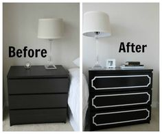 Ikea Hack: Malm Dresser + O'verlays - Posh Meets Pavement - Want To Do This But Make It White ! Ikea Malm Drawers, Ikea Dresser, Diy Nightstand, Dresser Drawers, Dresser Ideas, Black Furniture, Ikea Furniture, Furniture Makeover, Laminate Furniture