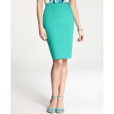 Ann Taylor Petite Cotton Sateen High Waist Pencil Skirt ($78) ❤ liked on Polyvore