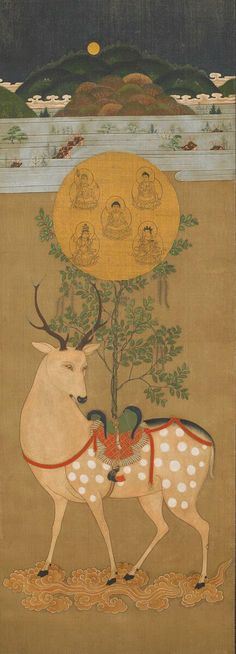 For Japanese artists the deer was often depicted as a companion of ancient sages and had auspicious or poetic associations. Not unlike Santa Claus's reindeer?