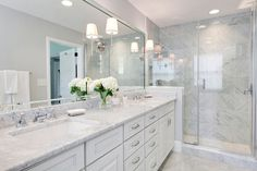 White Cabinets with White Marble Countertops, Contemporary, bathroom, MA Allen I. White Cabinets w Gray Bathroom Walls, White Marble Bathrooms, White Bathroom Cabinets, Gray And White Bathroom, Narrow Bathroom, Grey Bathrooms, Beautiful Bathrooms, White Cabinets, Gray Walls