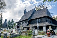 The Church of All Saints and its cemetery in Tvrdosin, Slovakia. This wooden church is part of the UNESCO World Heritage site. Carpathian Mountains, Europe Destinations, Eastern Europe, Cemetery, Saints, Around The Worlds, Explore, Mansions, Slovak Recipes