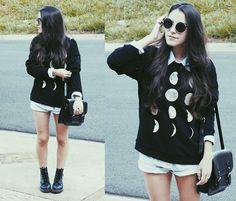 Urban Outfitters Sunnies, Vintage Shirt, Forever 21 Moon Sweatshirt, Vintage Short, Forever 21 Leather Bag, Dr. Martens Docs