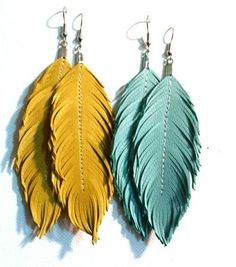 Large earrings are the newest fashion accessory trend in 2019 Feather Earrings L. Large earrings are the newest fashion accessory trend in 2019 Feather Earrings Large Earrings Lambskin Leather by lovesexton # Diy Leather Earrings, Flower Earrings, Leather Jewelry, Beaded Earrings, Gold Earrings, Leather Accessories, Jewelry Accessories, Fashion Accessories, Jewelry Crafts