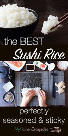 The Best Sushi Rice Recipe - it turns out perfectly seasoned and sticky every ti. The Best Sushi Rice Recipe - it turns out perfectly seasoned and sticky every time. Use it to make sushi rolls or sashimi. Very easy to make and stores well Best Sushi Rice, Sushi Rice Recipes, Sticky Rice Recipes, Rice For Sushi, Best Sushi Rolls, Homemade Sushi Rolls, Perfect Sushi Rice Recipe, Cooking Sushi Rice, Sticky Rice Recipe For Sushi
