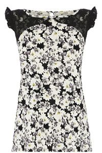 Smudgy Floral Print Shell Top