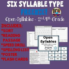 The Six Syllable Types Freebie! Open Syllables by The Swamped Teacher 2nd Grade Ela, 3rd Grade Reading, Third Grade, Spelling Help, Spelling Words List, Word Study, Word Work, Teaching Reading, Reading Resources