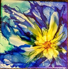 Flower in alcohol ink on 6x6 ceramic tile by Tina                                                                                                                                                                                 More