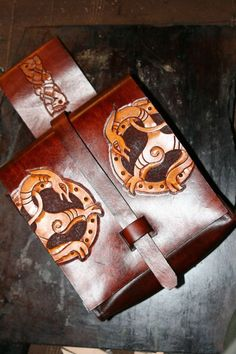Reenactment Belt Pouch FREE POSTAGE by darkagesleather1 on Etsy, £75.00