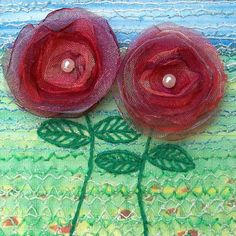 artistic cards with flowers of sheer cloth | inch square organza flower card - embroidered card - fabric art ...