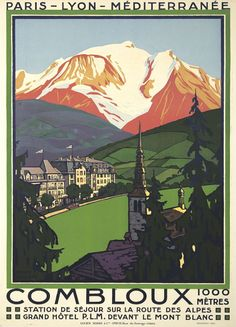 Affiche Roger Broders - Combloux station de séjour sur la route des Alpes Grand hôtel (France)