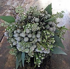 eucalyptus and brunia bouquet (steven bruce design)