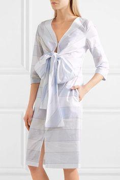 Paul & Joe - Bow-detailed Striped Cotton Dress - Light blue - FR44