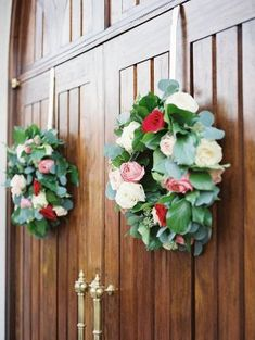 Wreaths on Chapel Door   photography by http://www.tracyenochphotography.com