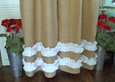 Burlap - Cotton Ruffles - Burlap Curtain Panel - In Natural Tan by SimplyFrenchMarket (Etsy - Burlap Shower Curtains, Shabby Chic Curtains, Yellow Curtains, Nursery Curtains, Drop Cloth Curtains, Floral Curtains, Hanging Curtains, Patterned Curtains, French Curtains