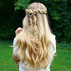 half up crown and braid updo