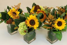 sunflower wedding | We used rectangular vases and lined each vase with aspidistra leaves ...