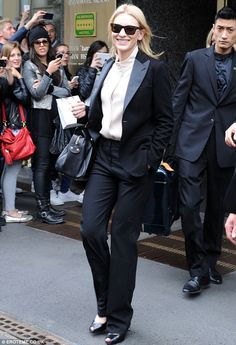 Cate Blanchett.. meant business as she shops up a storm in Milan.. wearing a slick trouser suit