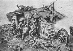 Tropas alemanas atacando un tanque detenido por averías, cortesía de Fortunino Matania. Más en