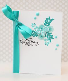 Supplies - Stamps: (Wplus9) Fresh Cut Florals, Embroidered Bouquet. (PTI) Mini Blooms. Ink: (PTI) Hawaiian Shores, Aqua Mist. (Memento) Tuxedo Black. Cardstock: (PTI) White. Ribbon: (PTI) Hawaiian Shores Satin. Other: Enamel dots, stickles.