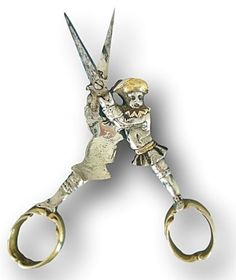 18th century silver figural landstnecht embroidery scissors