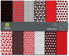 Ladybug Digital Paper Pack  - 12 designs. $4.95, via Etsy.