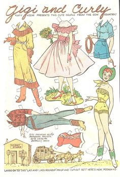 Cowgirl paper doll- Vintage Katy Keene Gigi and Curly
