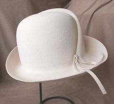 RESERVED for Tbonitastyle...Vintage 70's Hat, Fedora, Cream or Off  White with Crease and String Tie, Women's Size Small to Medium