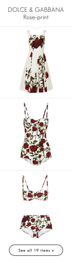 """DOLCE & GABBANA Rose-print"" by ancamarina ❤ liked on Polyvore featuring dresses, dolce & gabbana, white sundress, dolce gabbana dresses, floral print dress, rose dress, floral pattern dress, swimwear, one-piece swimsuits and swimsuit"
