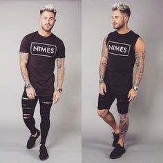 Which combo will you choose?? #BlackOnBlack We will not be Re stocking any Sleeveless Tees!! Get them while you can .. www.nimes.co.uk #NimesLtd #footasylum #exonthebeach #ss17 #menswear #Fashion #Ibiza