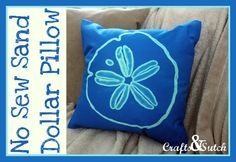 So easy ... I love this!! Crafts & Sutch: No Sew Bleached Sand Dollar Pillow