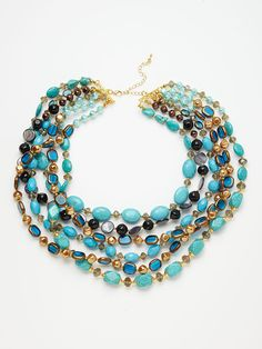 Turquoise & Mother Of Pearl Necklace by Leslie Danzis on Gilt $88