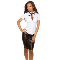 Sexy Dresses, Leather Skirt, Blouse, Skirts, Fashion, Mandarin Collar, Moda, Leather Skirts, Skirt