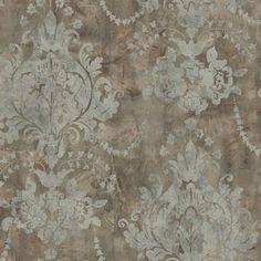Grey Renaissance Damask Wallpaper, SBK21961