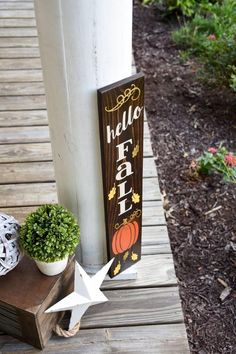 Awesome 42 Unique Fall Porch Decorating Ideas To Try Asap. Front Porch Signs, Porch Decorating, Decorating Ideas, Craft Ideas, Fall Signs, Holiday Signs, Holiday Ideas, Holiday Decor, Hello Autumn