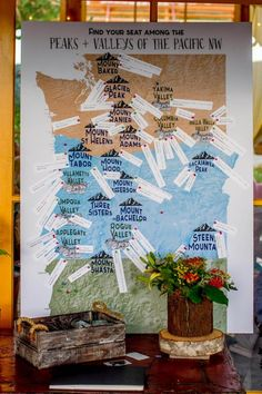 How perfect is this seating chart!  - Little Wee Shop - Whimsical Mountain Wedding in Oregon