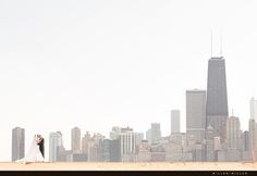 Bride and Groom Chicago Skyline Wedding Photo © Miller + Miller http://www.chicagoillinoisweddingphotography.com