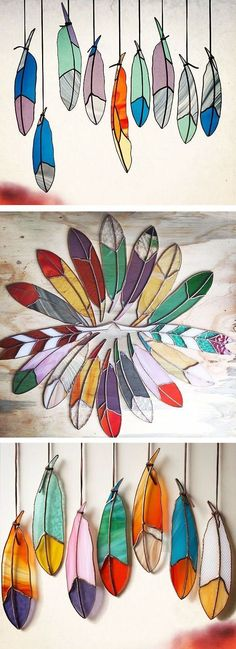 Stained glass feathers // handmade - love these! can easily make them using coated wire and stained glass craft paint Stained Glass Projects, Stained Glass Patterns, Stained Glass Art, Mosaic Glass, Fused Glass, Stained Glass Suncatchers, Ideias Diy, Arts And Crafts, Diy Crafts