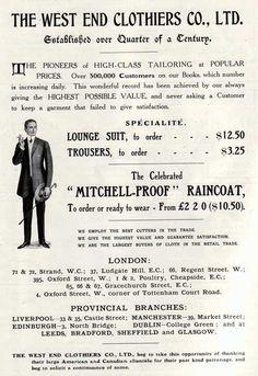 The West End Clothiers Co., Ltd. - London - 1908 Advertisement