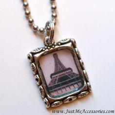 Paris Eiffel Tower Picture Frame Necklace - $8.00